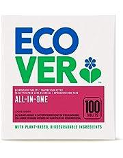 Ecover All-In-One vaatwasmachine-tabs citroen & mandarijn (100 stuks/2 kg), multi-tabs voor een krachtige reiniging, Ecover vaatwasmachine tabs met wasverzachter en afwaszout