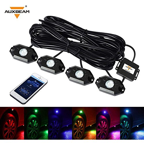 Auxbeam 4 Pods RGB LED Rock Lights with Bluetooth Controller Underglow Rock Lights Kit for Car Jeep Off Road Truck ATV SUV Boat -Multicolor Neon LED Rock Lights