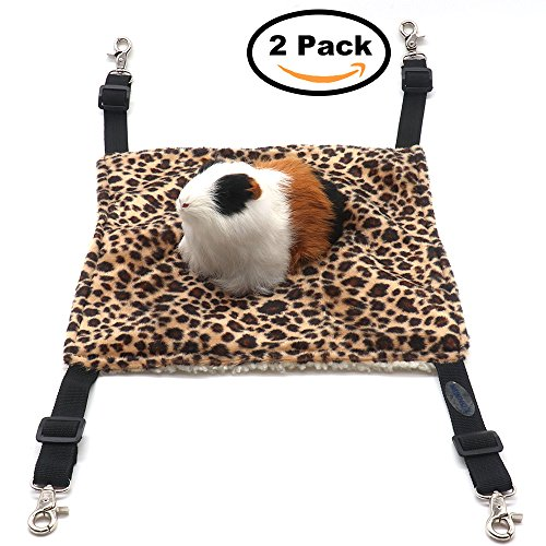 Small Pet Animal Hamster Hammock for Cage,House Hanging Bed Cage Toys for Mice Rats Ferret Chinchilla (2Pack Leopard Print)