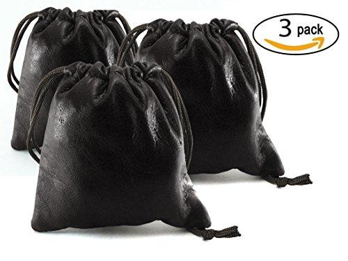 3 Pack Chalk Factory Lambskin Leather Drawstrings Pouch: Black, 11.5cm X 11.5cm