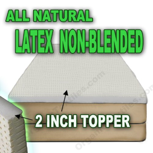 All Natural Latex Non Blended FIRM Mattress Topper - 2 inch Thick - QUEEN