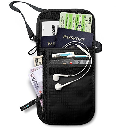 RFID Blocking Neck Stash Passport , Unisex , Black