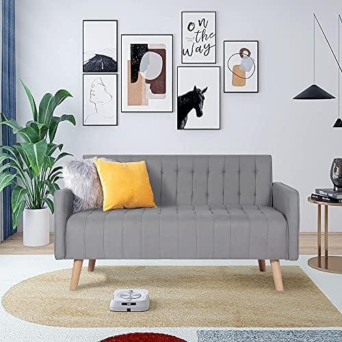 52″ Loveseat Sofa, Small Modern Striped...