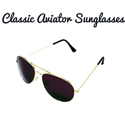 1 Pair of Classic Aviator Sunglasses with Dark Amber Lenses and Gold Metal Frame - Great for Men, Women and Children: Toys & Games