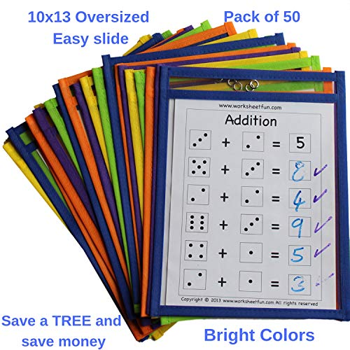 Dry Erase Pockets Bulk Sheet Protectors - 50 Pack Reusable Oversized Pouches 10x13 inch - Write and Wipe Sleeves - Erasable Folder Easy Insert - School and Work Supply