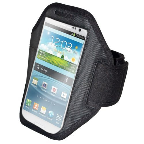 handy-point Armhalter, Armband für Sport, Laufen, Joggen für Samsung Galaxy S4, S5, S5 Neo, S6, S7, A5 2016, Alpha, Grand Neo, Sony Xperia Z1, Z2, Z3, Z3+, Sony Z5 Compact, HTC One M8, M9,One E8, A9,  Dunkel_Schwarz