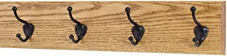"""product image for Oak Wall Mounted Coat Rack with Bronze Hooks 4.5"""" Ultra Wide (Golden Oak, 20"""" x 4.5"""" with 4 Hooks)"""