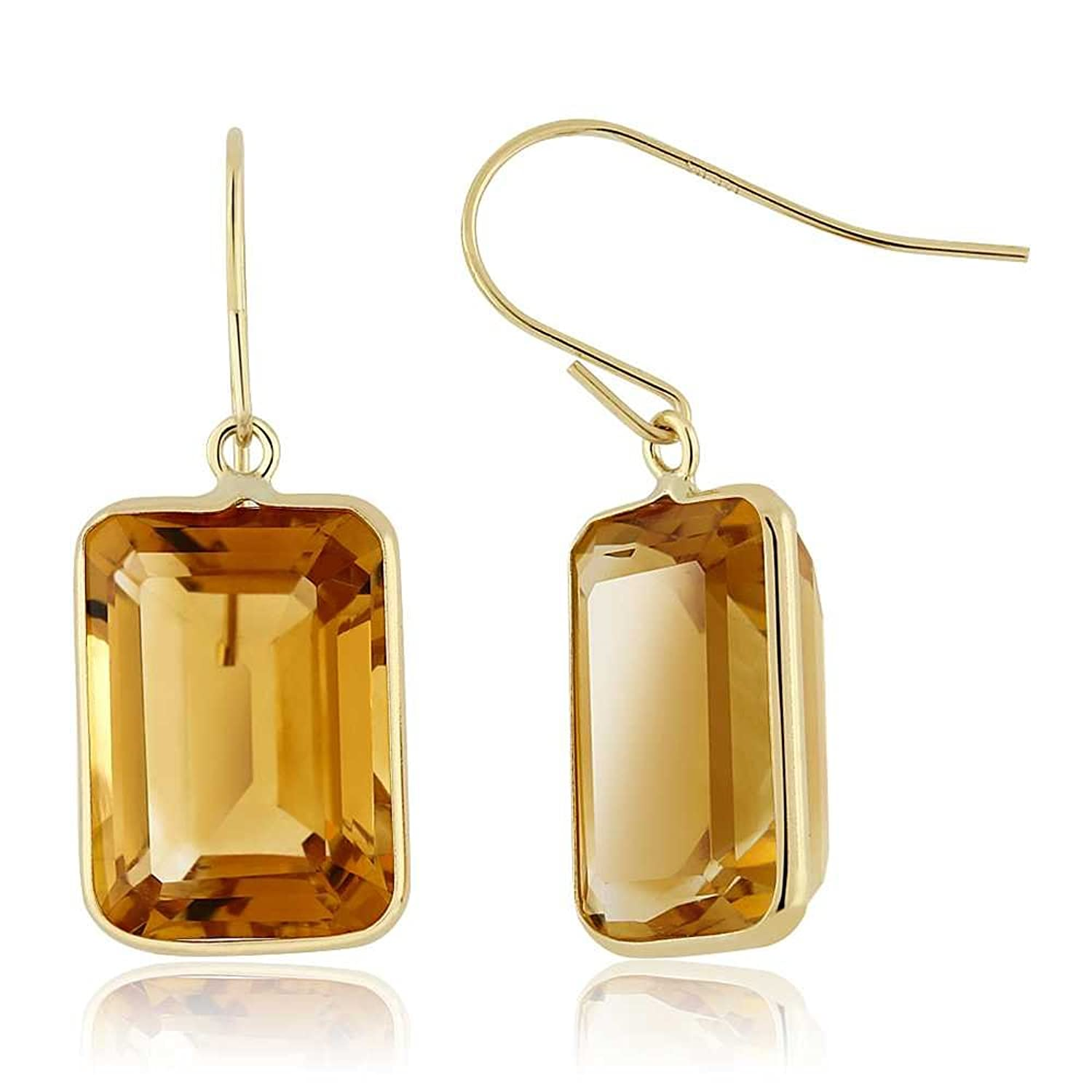 14.00 Ct Natural Citrine Emerald Cut Solid 14K Yellow Gold Women's Earrings