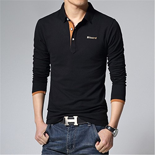 Mlhgy Casual Polo Shirt Men Letter Print Long-Sleeve Men'S Polos Polo Shirts Man Slim Polos Black M (Morph Suit Price)