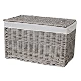Grey Wash Wicker Storage Trunk Chest Basket Small