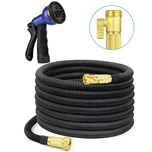 SHINE HAI 50ft Expanding Hose with 8 Functions Sprayer, Expandable Garden Hose with Strongest TPS, Solid Brass Connector Fitting, Extra Strength Fabric Garden Hose Nozzle by SHINE HAI