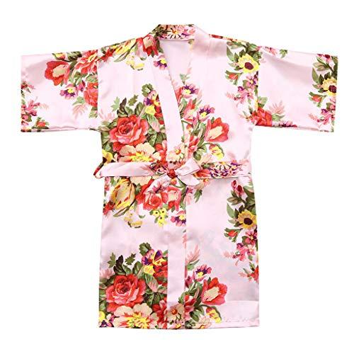 VEFSU Toddler Baby Kid Girls Floral Silk Satin Kimono Robes Kids Wrap Bathrobe Sleepwear Clothes Pink 4-5 Years -