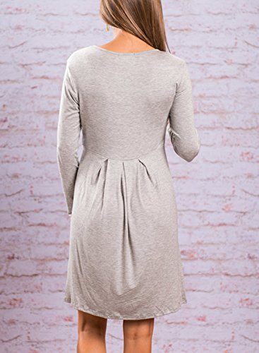 Color Women's Swing Light Dress Solid T Pleated Sleeve Casual Pockets Grey Long ZESICA shirt 0Bqwxx