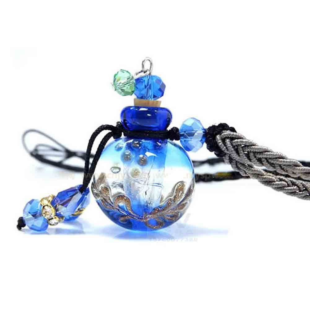 UPMALL Essential Oils Pendant, Aroma Fragance Colored Glaze Pendant with Adjustable Chain Perfume Essential Oil Diffuser, Gift Wrap, 1 Free Transfer Dropper Pipette and Extra Free Cork Italian Blue