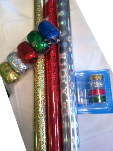 Holographic Gift Wrap Set ~ Paper / Tape / Ribbon by CHRISTMAS HOUSE