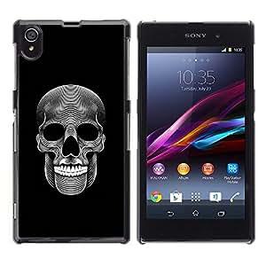 Sony Xperia Z1 L39 , JackGot - Impreso colorido protector duro espalda Funda piel de Shell (Música cráneo Death Metal Oscuro Arte Negro)