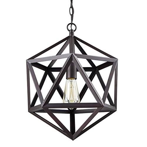 Major-Q 7031228BK 14 Inch Geometric Cage Hanging Pendant Light, Black