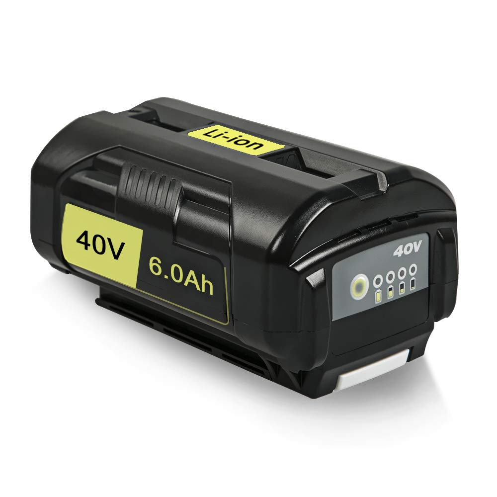 Amityke 40V 6.0Ah Lithium-ion battery Compatible with Ryobi OP4026A OP4050 High Capacity battery with Onboard Fuel Gauge