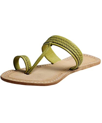 a07588feac95d6 eKolhapuri Handmade Authentic Genuine Leather Bamboo Color Three Braided Awesome  Looking Kolhapuri Chappal for Women Size
