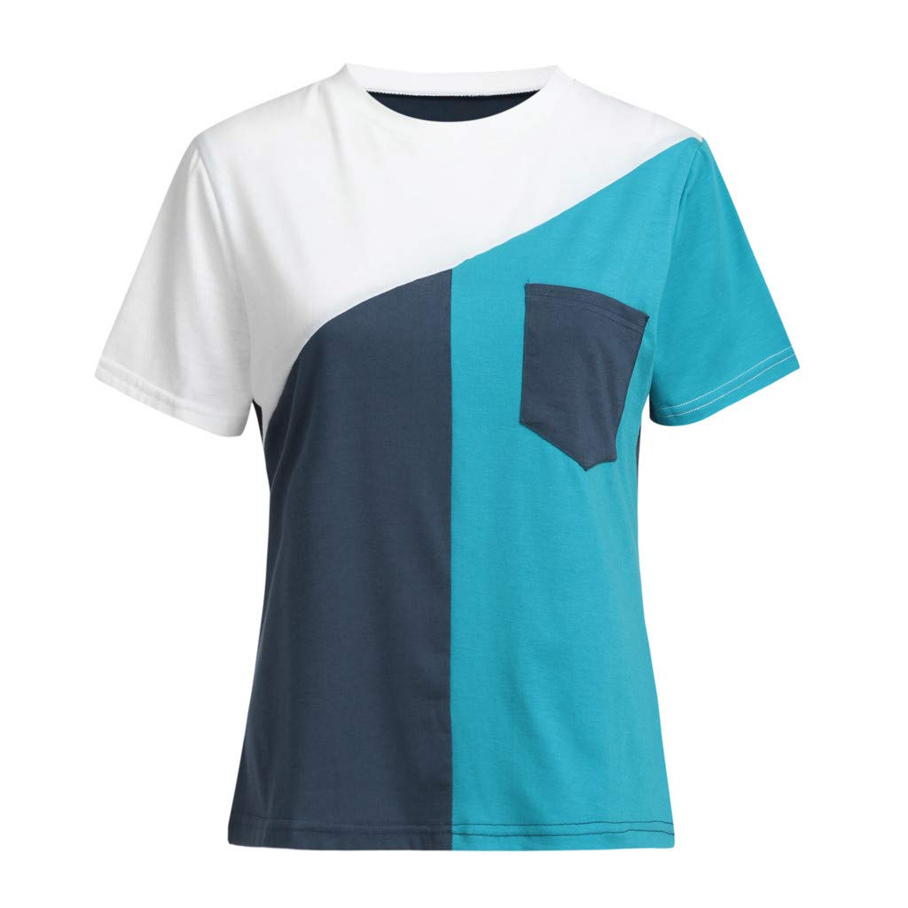 Short Sleeve Tee Blouse for Women,Amiley Womens Triple Color Block Patchwork Short Sleeve Tops O-Neck T Shirts with Pocket (X-Large, Blue)
