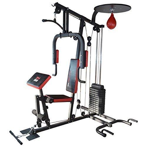 TrainHard HomeGym Multistation Fitnesscenter mit 65KG Gewichten inkl. Speedball-Plattform und Push-Up Bar
