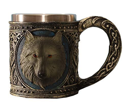 - Otartu 15oz(450ml) Carved 3D Wolf Design Beer Coffee Mugs