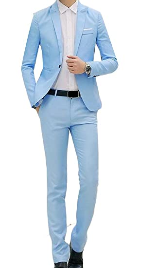 Cromoncent Mens Pure Color Slim Fit 2 Piece One Button Suit ...