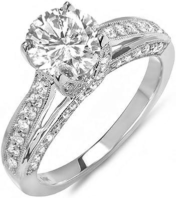 DazzlingRock - Anillo de compromiso de oro blanco de 14 quilates con diamantes redondos para mujer, solitario con acentos (1,50 quilates, color H-I, claridad I1) centro no incluido