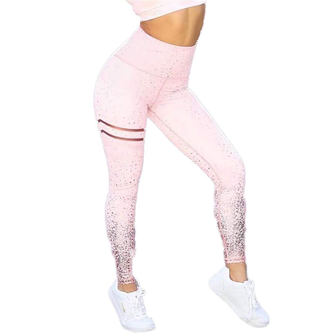 Women Leggings No Transparent Metallic Foil Print Leggings Exercise Fitness Patchwork Push Up Pants