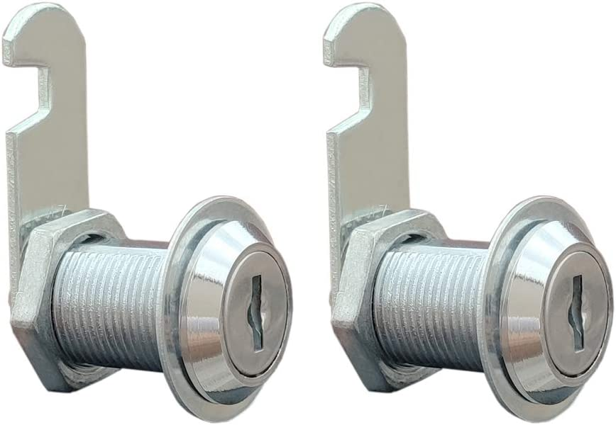VictorsHome Cam Lock for Cabinet Drawer - 1-1/8 Inch (30mm) Cylinder Length, Fits for 7/8 Inch Max. Panel Thickness, Chrome Finish, Keyed Alike, 2 Pack