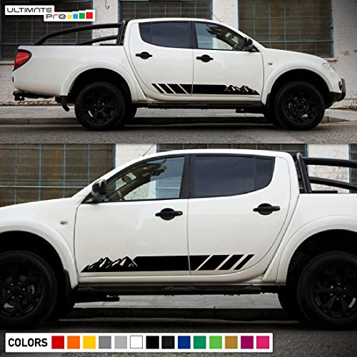 2x Decal Sticker Side Stripes Compatible with Mitsubishi L200 Triton 2005-2017 Warrior Barbarian Titan