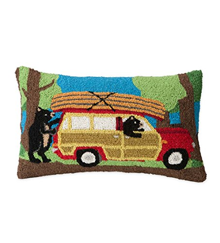 Hand-Hooked Wool Canoeing Bears Decorative Throw Pillow, 20 L x 12 W