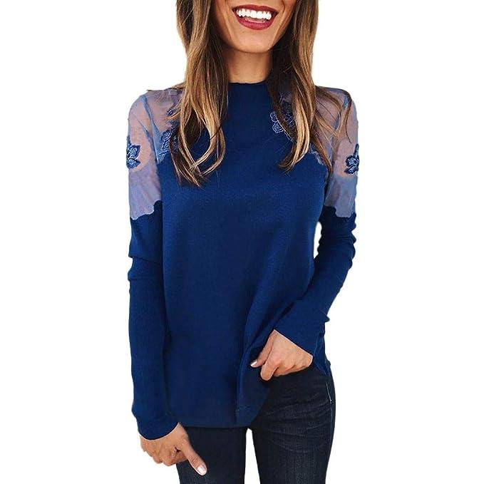 7f3d48dcaf445 Luckycat Mujer Cuello Alto Transparente Mangas Largas Camiseta Blusa Elegante  Moda Oficina Casual Color sólido  Amazon.es  Ropa y accesorios