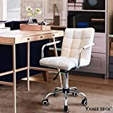 Yaheetech Modern White Faux Leather Bar Stool Gas-lift Swivel Pub Chair Barstool on Wheels