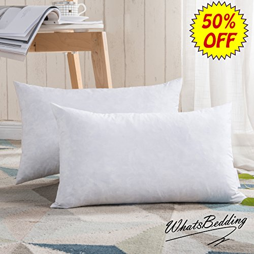 "100% Cotton Throw Pillow Inserts - Sham Stuffer Filled with Down and Feather for Firm Sleepers - Rectangle Decorative Cushion Used for Sofa and Bed, Set of 2, White, 12""x20"""
