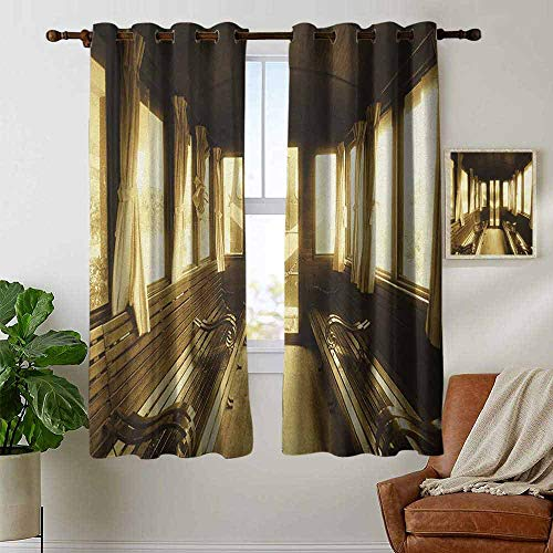 petpany Decorative Curtains for Living Room Antique,Old Vintage Train Salon Inside Historical Transport Windows with Curtains Arch Shape, Sepia,Blackout Draperies for Bedroom 42