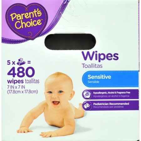 Amazon.com : Parents Choice Sensitive Baby Wipes, 5 packs of 96 (480 count) : Baby