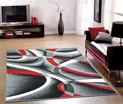 Adgo Collection, Modern Contemporary Rectangular Design Rubber-Backed Non-Slip (Non-Skid) Area Rugs| Thin Low Profile Indoor/Outdoor Floor Rug (4' x 6', Silver10)