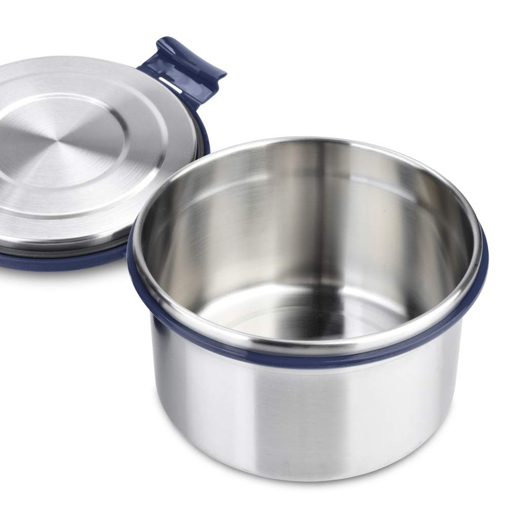 LunchBots Salad Bowl Lunch Container - 6 Cup - Leak Proof Lid - Stainless Steel Inside - Not Insulated - BPA Free, Dishwasher Safe - Navy - 6 cup by LunchBots (Image #4)