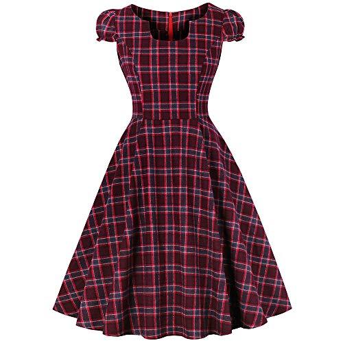 KCatsy Vintage Plaid Pin Up Dress ()