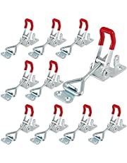 SHEUTSAN 10 Pack Adjustable Toggle Clamps with Locking Hole, 4002 Type Hold Down Toggle Latch Clamp with Red Handle, 485 Lbs Holding Capacity Toggle Clamp Horizontal Quick Release Tool
