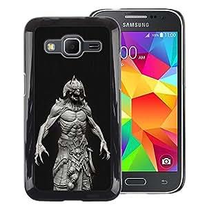 A-type Arte & diseño plástico duro Fundas Cover Cubre Hard Case Cover para Samsung Galaxy Core Prime (Monster Satan Abs Man Demon Black)