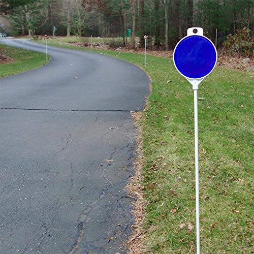 FiberMarker 48inchx1/4inch Solid Driveway Poles with Double-Side Blue Reflector 4.5inchx3inch Driveway Markers Safety Markers (6pack)
