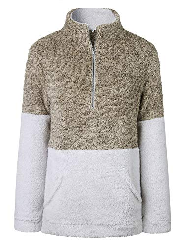 TEMOFON Women's Long Sleeve Zipper Fleece Jacket Sherpa Pullover Winter Outwear Sweatshirt Coat with Pockets Coffee S
