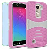 LG K7 / Tribute 5 Case, INNOVAA Turbulent Armor Case W/ Free Screen Protector & Touch Screen Stylus Pen - White/Pink