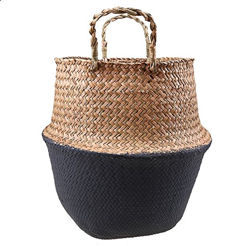 Natural Seagrass Woven Belly Basket, WCIC Laundry Basket Holder Plant Pot Home Garden 8.86