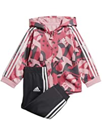 adidas Baby Shiny Full-Zip Hooded Jogger, 3M, Light Pink/Semi Solar Pink/Grey/White
