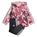adidas Baby Shiny Full-Zip Hooded Jogger, 3T, Light Pink/Semi Solar Pink/Grey/White