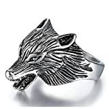 Aokarry Mens Stainless steel Ring Wolf Head punk silver 25MM Size 9