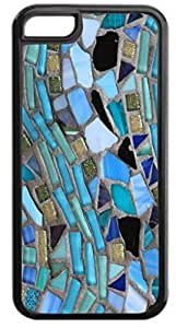 Blue Mosaic Pattern - Case for the Apple Iphone 5C- Hard Black Plastic Snap On Case